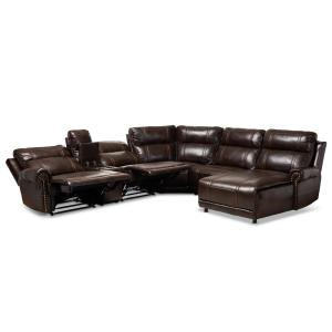 Enjoyable Baxton Studio Dacio Brown Faux Leather Sectional 150 9117 Hd Alphanode Cool Chair Designs And Ideas Alphanodeonline