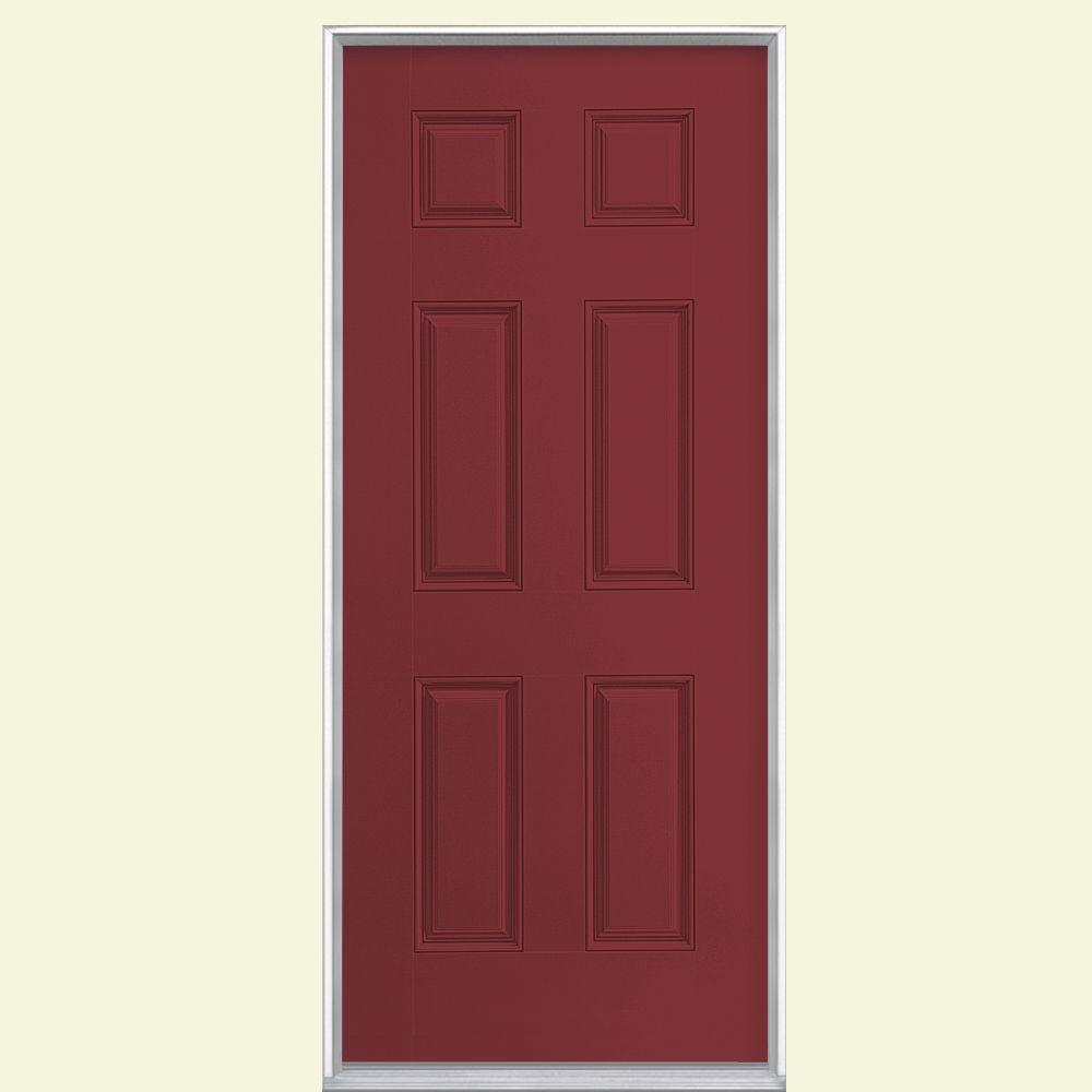 Masonite 36 in. x 80 in. 6-Panel Red Bluff Right-Hand Inswing Painted Smooth Fiberglass Prehung Front Door