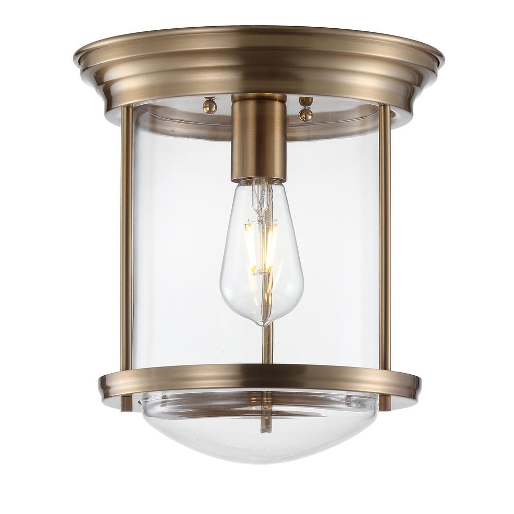 JONATHAN Y Savannah 10.25 in. Aged Brass Metal/Glass LED Flush Mount