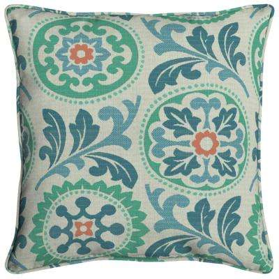 Sunbrella Province Turkish Square Outdoor Throw Pillow (2-Pack)