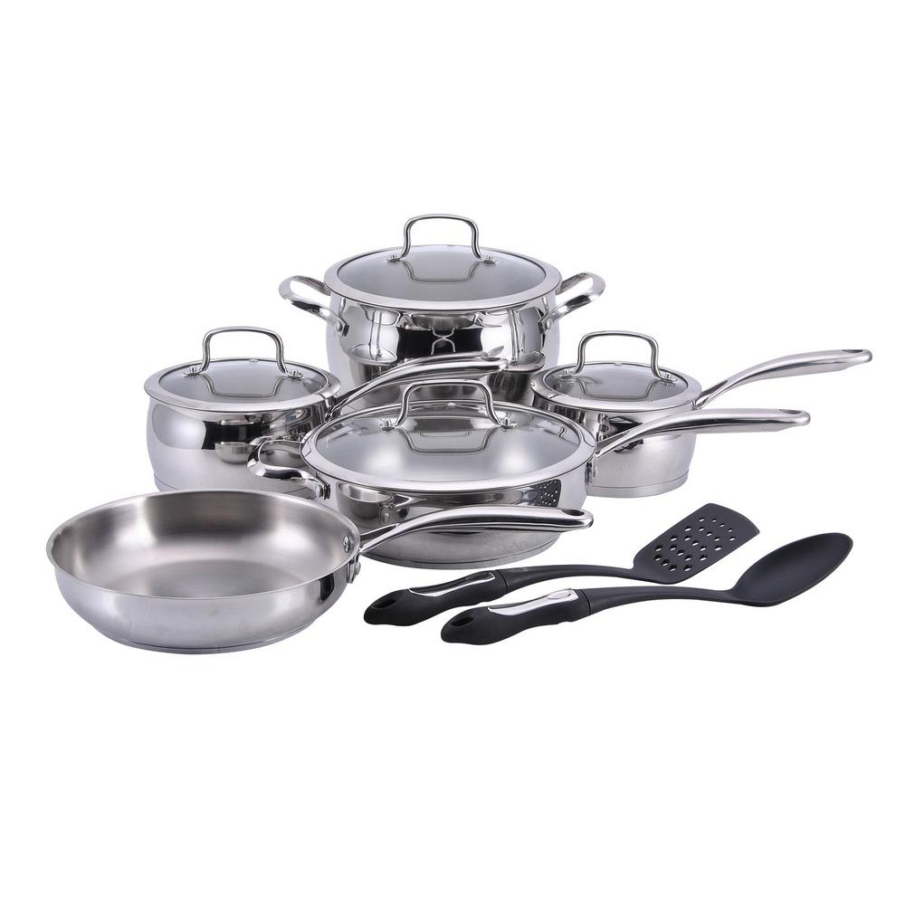 11 Piece Stainless Steel (silver) Cookware Set With Lids