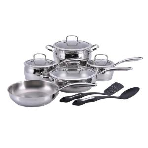 Click here to buy Hamilton Beach 11-Piece Stainless Steel Cookware Set with Lids by Hamilton Beach.