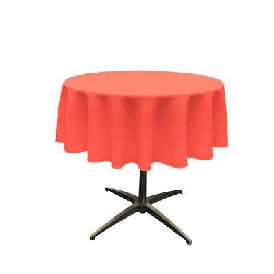 51 in. Round Coral Polyester Poplin Tablecloth