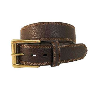 Men's Size 44 Dark Brown Triple Stitched Genuine Leather Belt