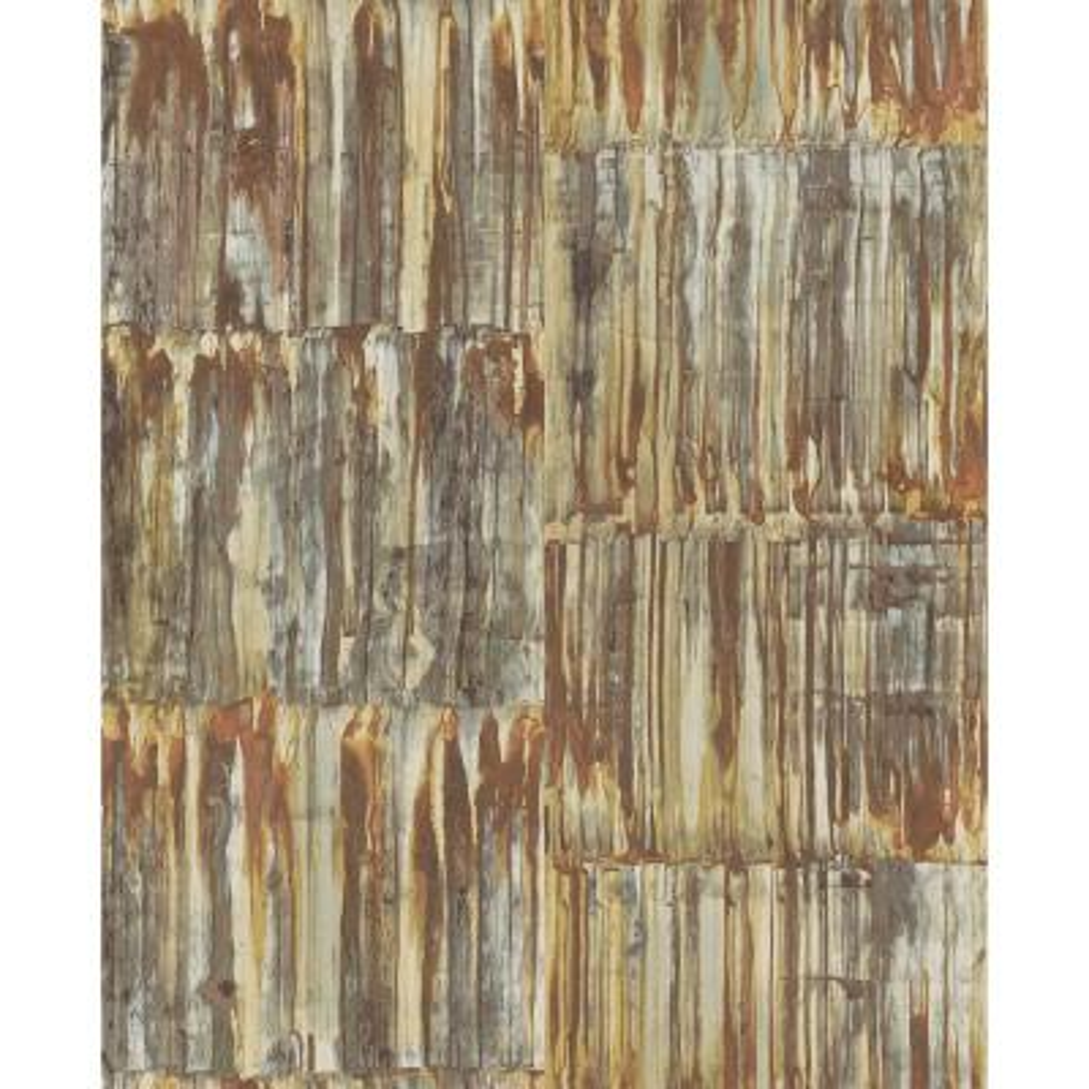 56.4  sq. ft. Patina Brass Faux Metal Panels Wallpaper