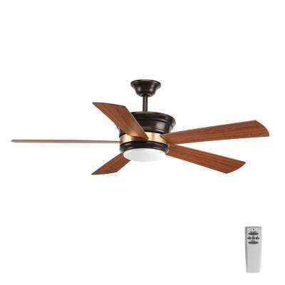 Harranvale Collection 54 in. LED Indoor Antique Bronze Ceiling Fan with Light Kit and Remote