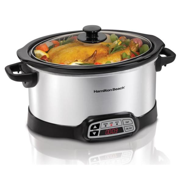 6 Qt. Programmable Silver Slow Cooker with Temperature Controls