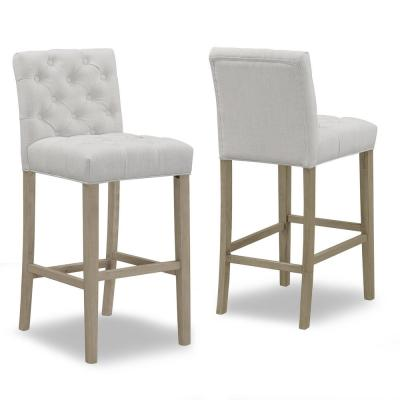 29 in. Alee Beige Fabric with Tufted Buttons and Wood Legs Bar Stool (Set of 2)