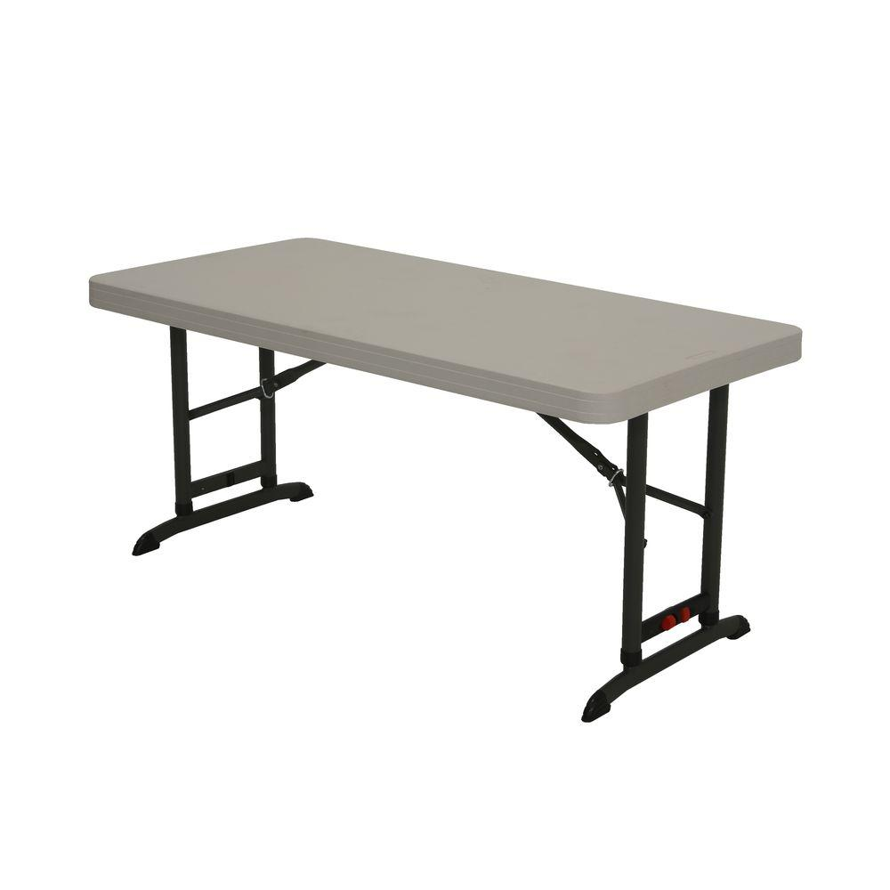 lifetime 48 in almond plastic adjustable height folding high top table 80387 the home depot. Black Bedroom Furniture Sets. Home Design Ideas
