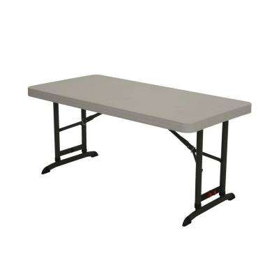 48 in. Almond Plastic Adjustable Height Folding High Top Table
