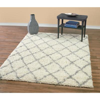 Designera Collection Trellis Design Ivory and Gray 7 ft. 8 in. x 9 ft. 8 in. Shaggy Area Rug