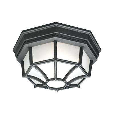 Outdoor Essentials 1-Light Black Outdoor Flush Mount
