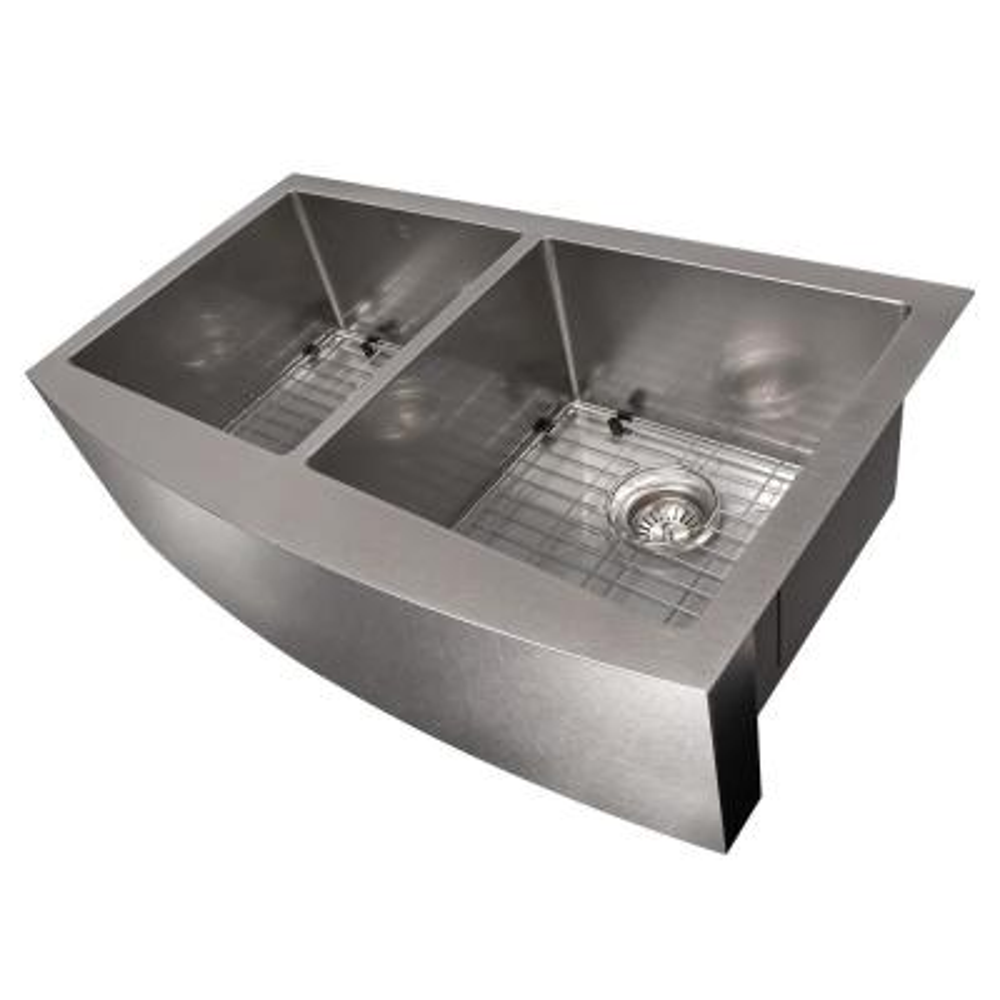 ZLINE 36 in. Niseko Farmhouse Undermount Double Bowl Sink in DuraSnow®Stainless Steel