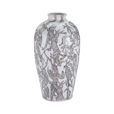 Hand Painted Thicket 22 in. Terracotta Decorative Vase in Black and White