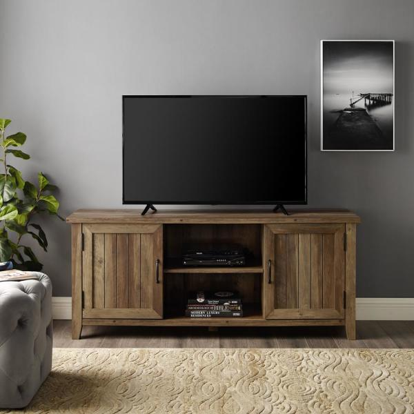 58 in. Rustic Oak Composite TV Console 62 in. with Doors
