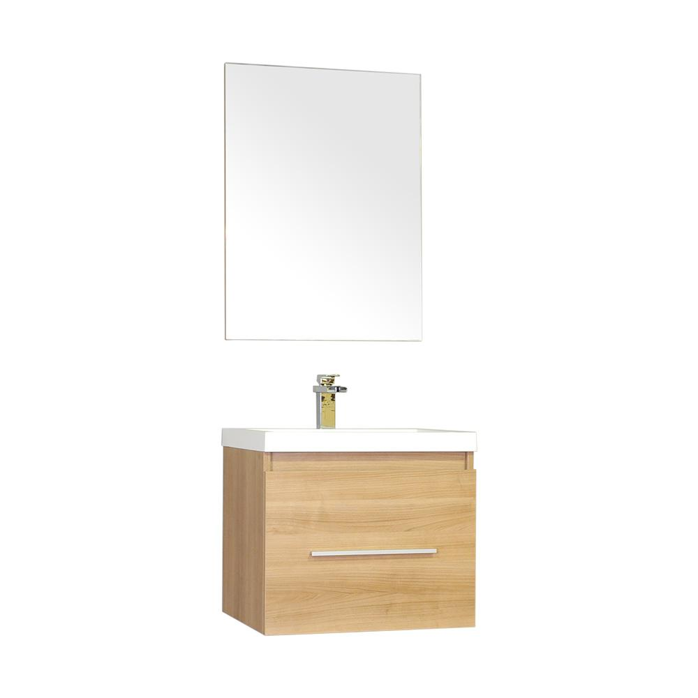 The Modern 24 in. W x 18.75 in. D Bath Vanity in Light Oak with Acrylic Vanity Top in White with White Basin and Mirror