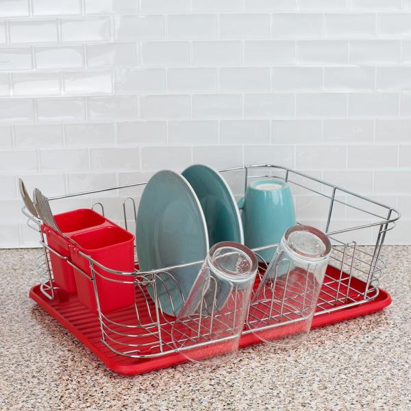 3-Piece Red Chrome Plated Steel and Plastic Dish Rack