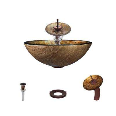 Glass Vessel Sink in Golden Bronze Foil Undertone with Waterfall Faucet and Pop-Up Drain in Oil Rubbed Bronze
