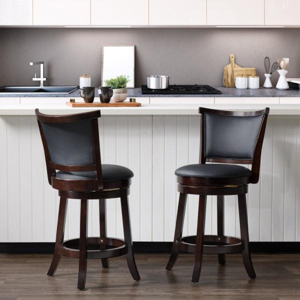 CorLiving Woodgrove 25 in. Counter Height Swivel Barstools with Black Bonded