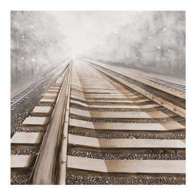 "47 in. x 47. in ""Vanishing into the Distance II"" Hand Painted Canvas Wall Art"