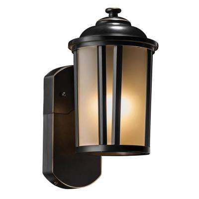 Traditional Smart Security Companion 1-Light Bronze Metal and Glass Outdoor Wall Lantern Sconce