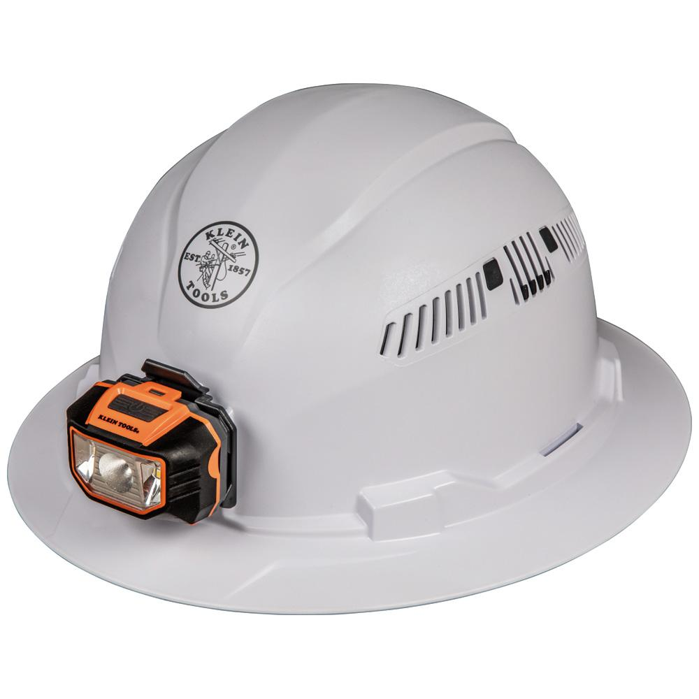 KleinTools Klein Tools Vented Full Brim with Headlamp Hard Hat, White