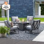Highland Point Black Pewter 5-Piece Aluminum Outdoor Patio Fire Pit Set with CushionGuard Pewter Gray Cushions