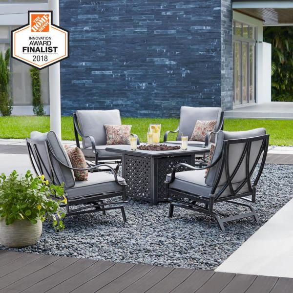 Hampton Bay Highland Point Black Pewter 5 Piece Aluminum Outdoor Patio Fire Pit Set With Cushionguard Pewter Gray Cushions Fg Tul5pcfcalwc The Home Depot