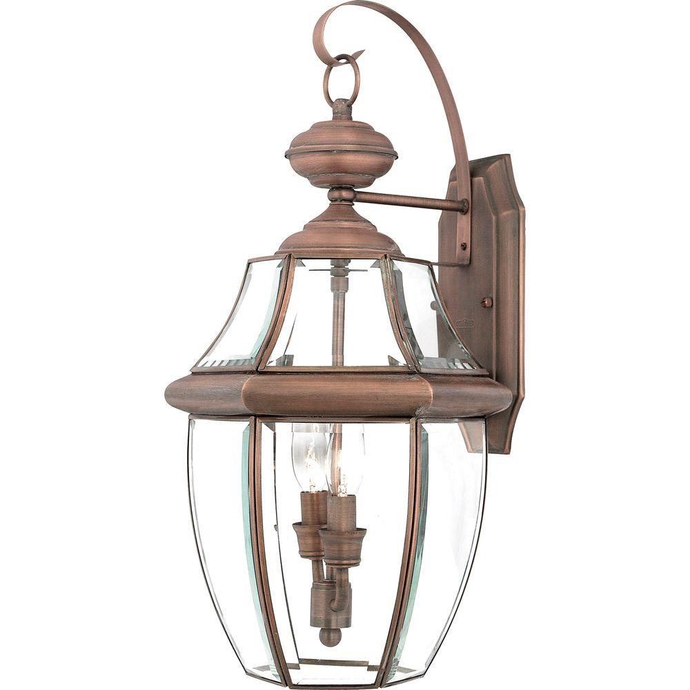 Home Decorators Collection Newbury 2-Light Aged Copper Outdoor Wall Lantern