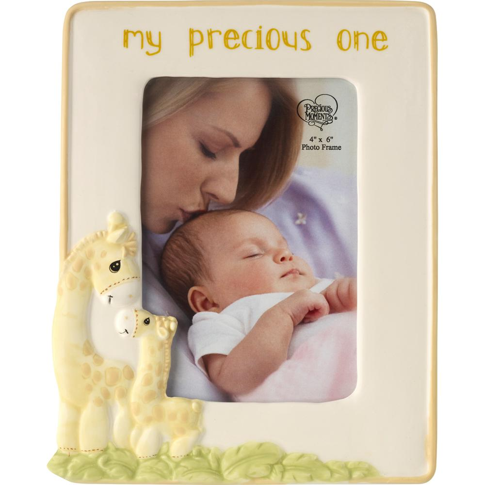 Precious Moments 4 in. x 6 in. Multi Colored Gloss Ceramic My Precious One Giraffe Picture Frame Surround a 4 in. x 6 in. baby photo with this sweet frame adorned with the words Love You Tons a cute little giraffe that never forgets how much you love your little blessing, The whole family will just love this adorable giraffe decor, Looks just great in baby's room with our Raffie Giraffe Nightlight 179309 and our My Precious One Giraffe Musical Snow Globe 179306. Makes a perfect gift for new baby showers birthdays and Easter, Its an easy way to pretty up baby or toddler gift baskets too. Crafted in ceramic. 8.5 in. H x 6.5 in. W. Holds 4 x6 photo. Color: Multi.