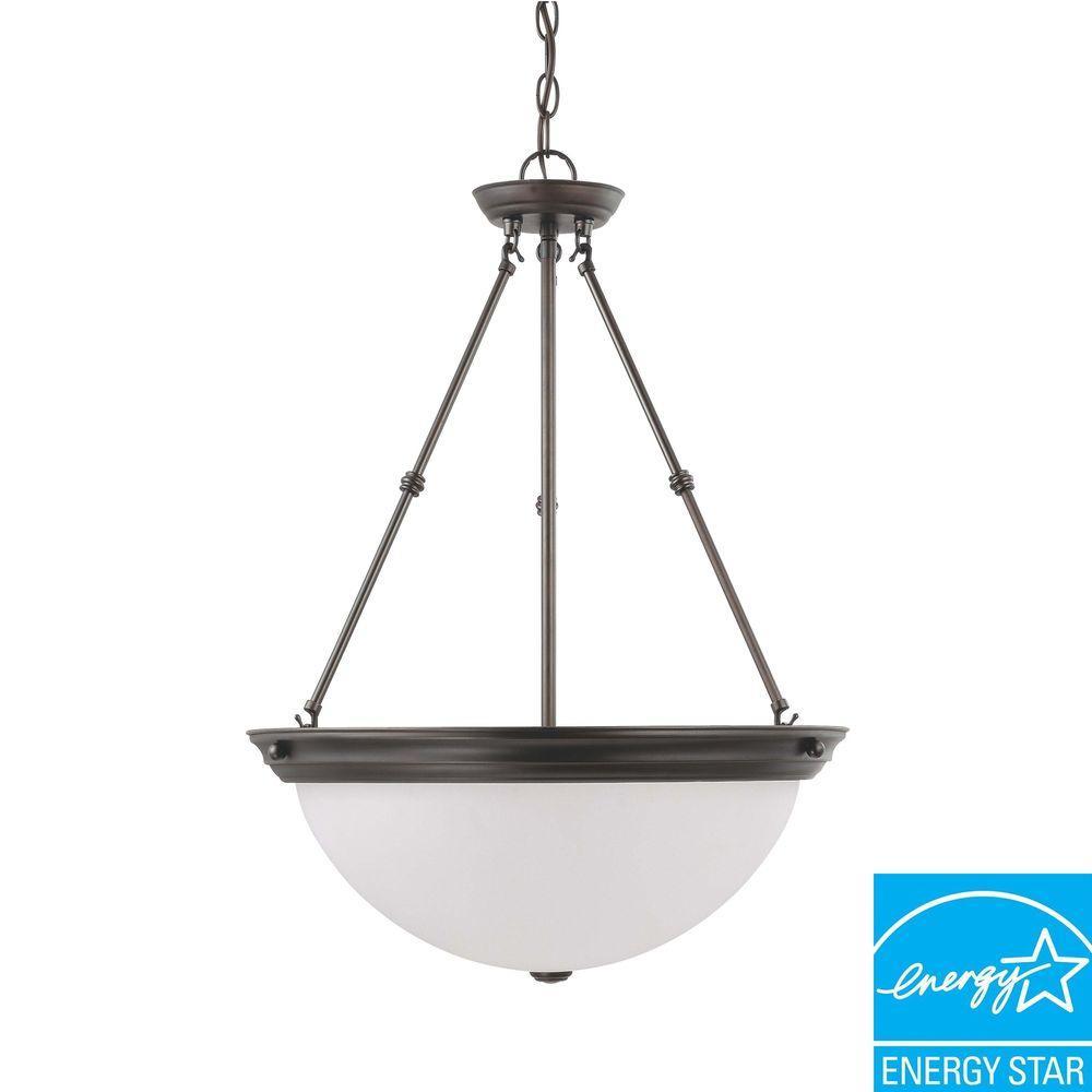 Glomar 3-Light Mahogany Bronze Fluorescent Ceiling Pendant
