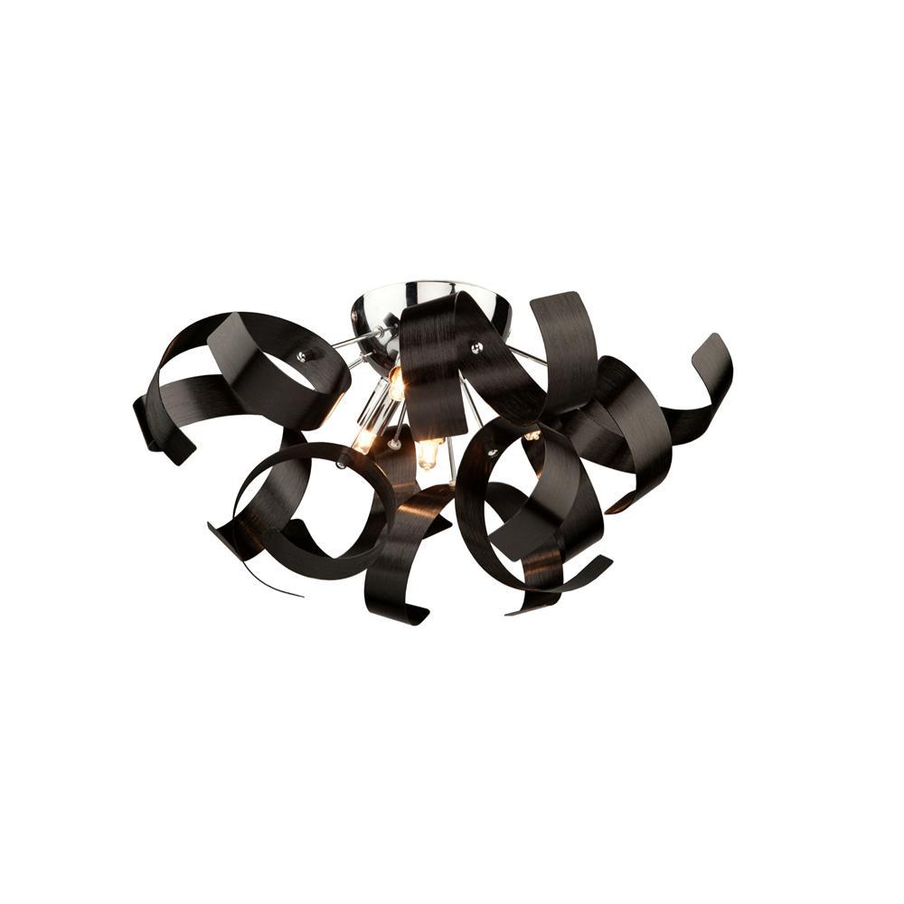 4-Light Metallic Black Flushmount