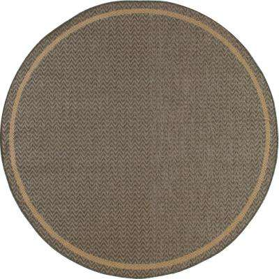Plymouth Grooveyard Gray 7 ft. x 7 ft. Round Indoor/Outdoor Area Rug
