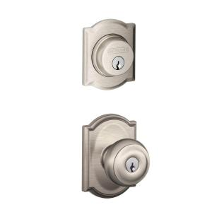Camelot Satin Nickel Single Cylinder Deadbolt With Georgian Entry Door Knob  Combo Pack