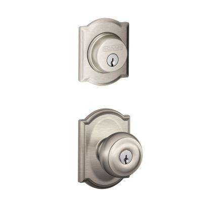 Camelot Single Cylinder Satin Nickel Georgian Decorative Entry Set Knob