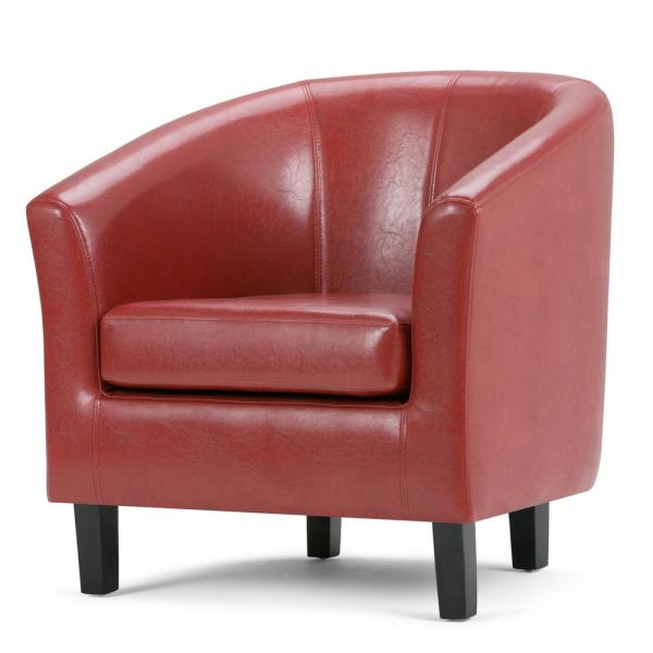 Wide Transitional Tub Chair In Red Faux Leather