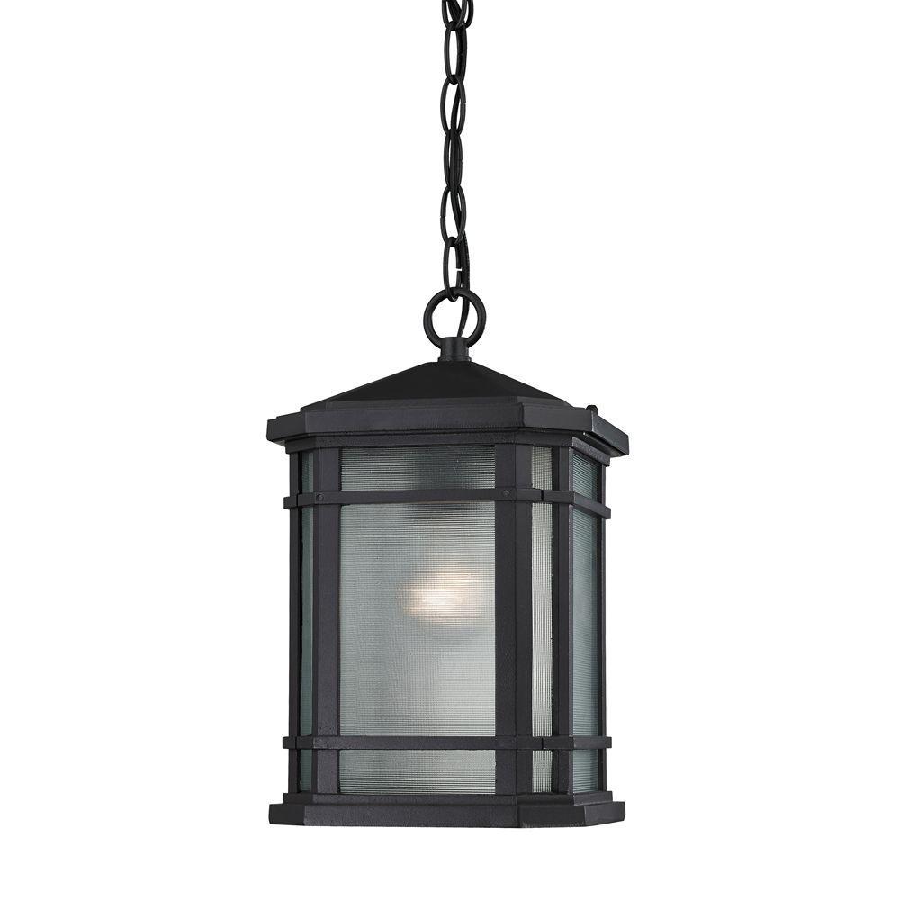 Lowell 1-Light Matte Black Outdoor Pendant