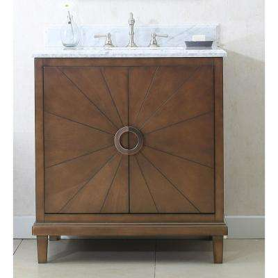 31 in. W x 22 in. D Vanity in Antique Coffee with Marble Vanity Top in Carrary White with White Basin