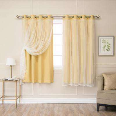 63 in. L Sunlight Marry Me Lace Overlay Blackout Curtain Panel (2-Pack)