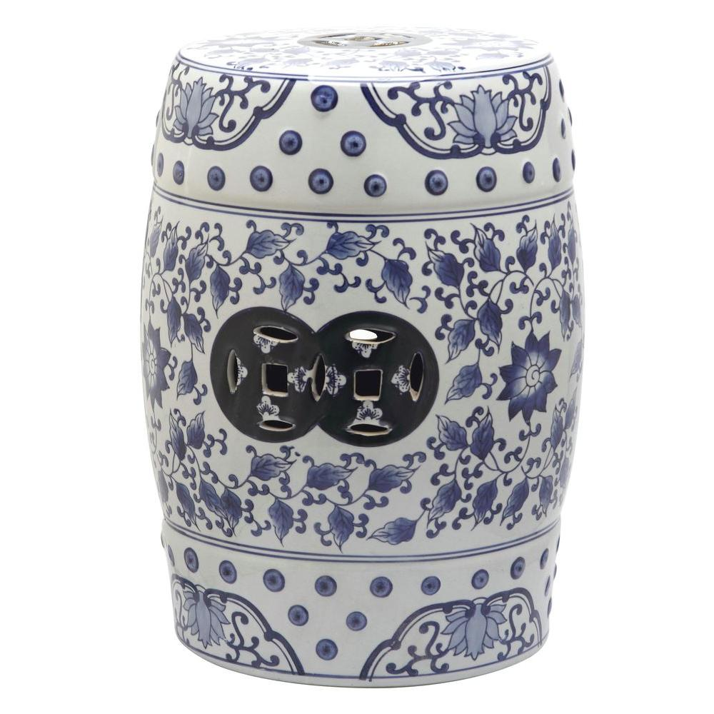 Peachy Safavieh Tao Blue And White Garden Patio Stool Gamerscity Chair Design For Home Gamerscityorg