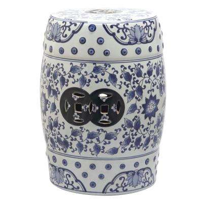 Tao Blue and White Garden Patio Stool