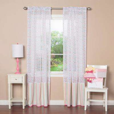 84 in. L Pink Multi Color Dot and Stripe Curtain Panel (2-Pack)