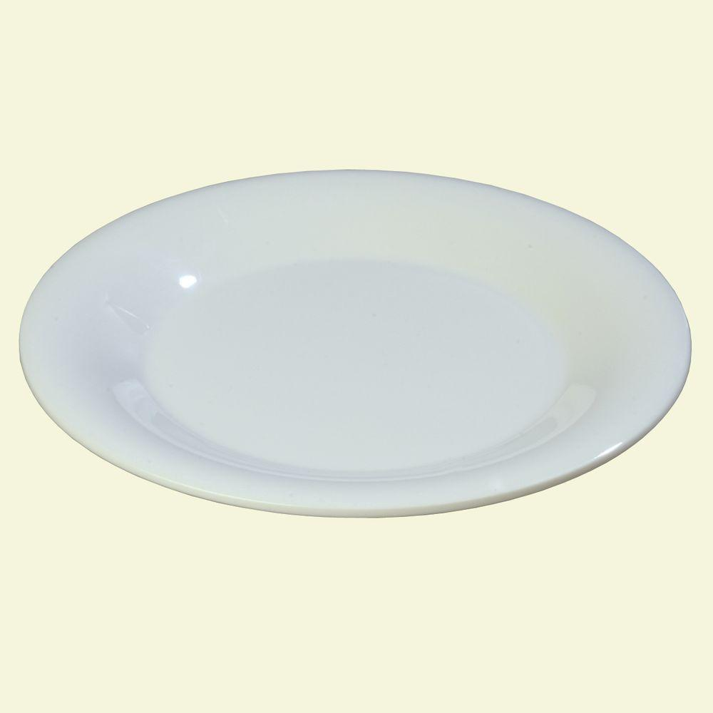 9 in. Diameter Wide Rim Melamine Dinner Plate in White (Case