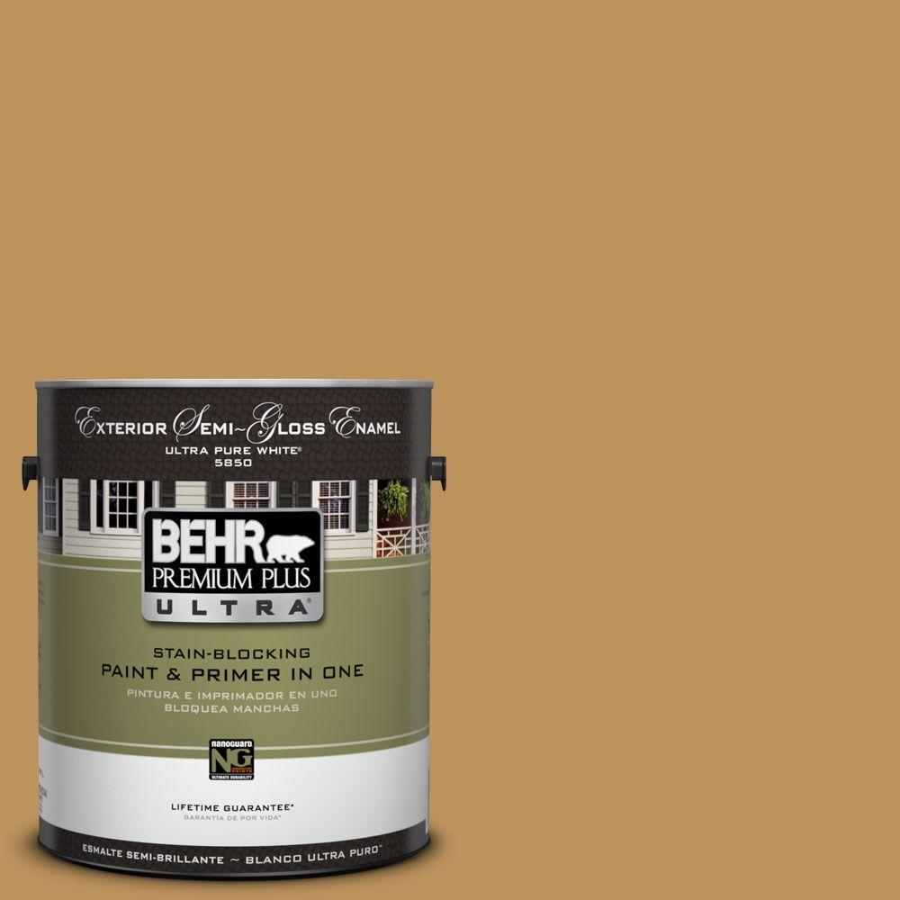 BEHR Premium Plus Ultra 1-Gal. #UL160-3 Gold Torch Semi-Gloss Enamel Exterior Paint