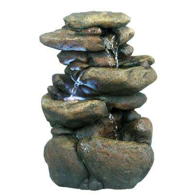 11 in. 3-Tier Rock Tabletop Fountain