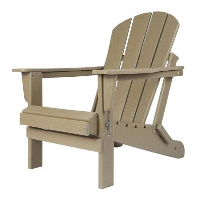 Addison Weathered Wood Folding Plastic Outdoor Adirondack Chair
