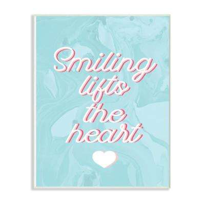 """10 in. x 15 in. """"Smiling Lifts The Heart Script Typography on Blue Marble"""" by Daphne Polselli Wood Wall Art"""