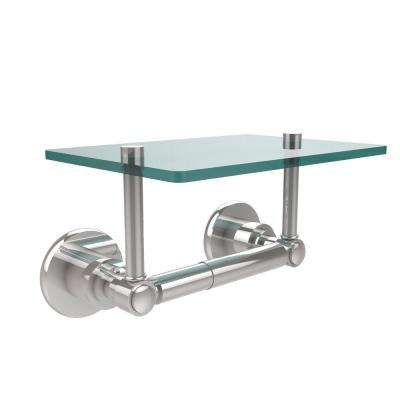 Washington Square Collection Double Post Toilet Paper Holder with Glass Shelf in Polished Chrome