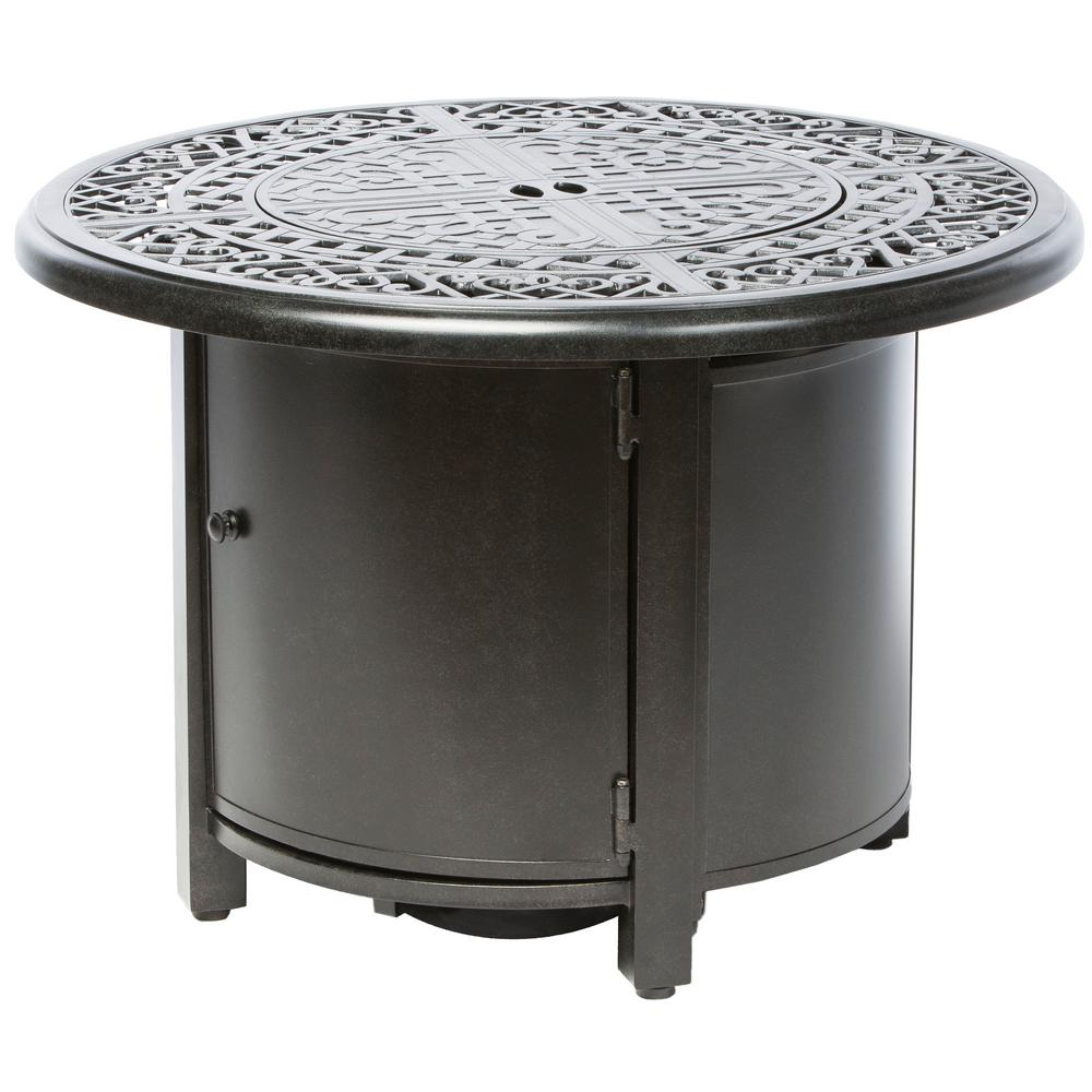 Alfresco Kinsale 36 in. x 25 in. Round Aluminum Propane Gas Fire Pit Table with Glacier Ice Firebeads