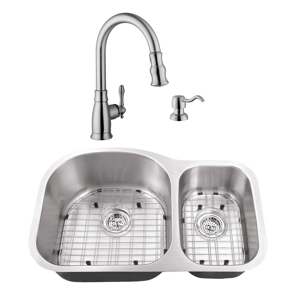 Cahaba Undermount Stainless Steel 31 1 2 In 70 30 Double Bowl